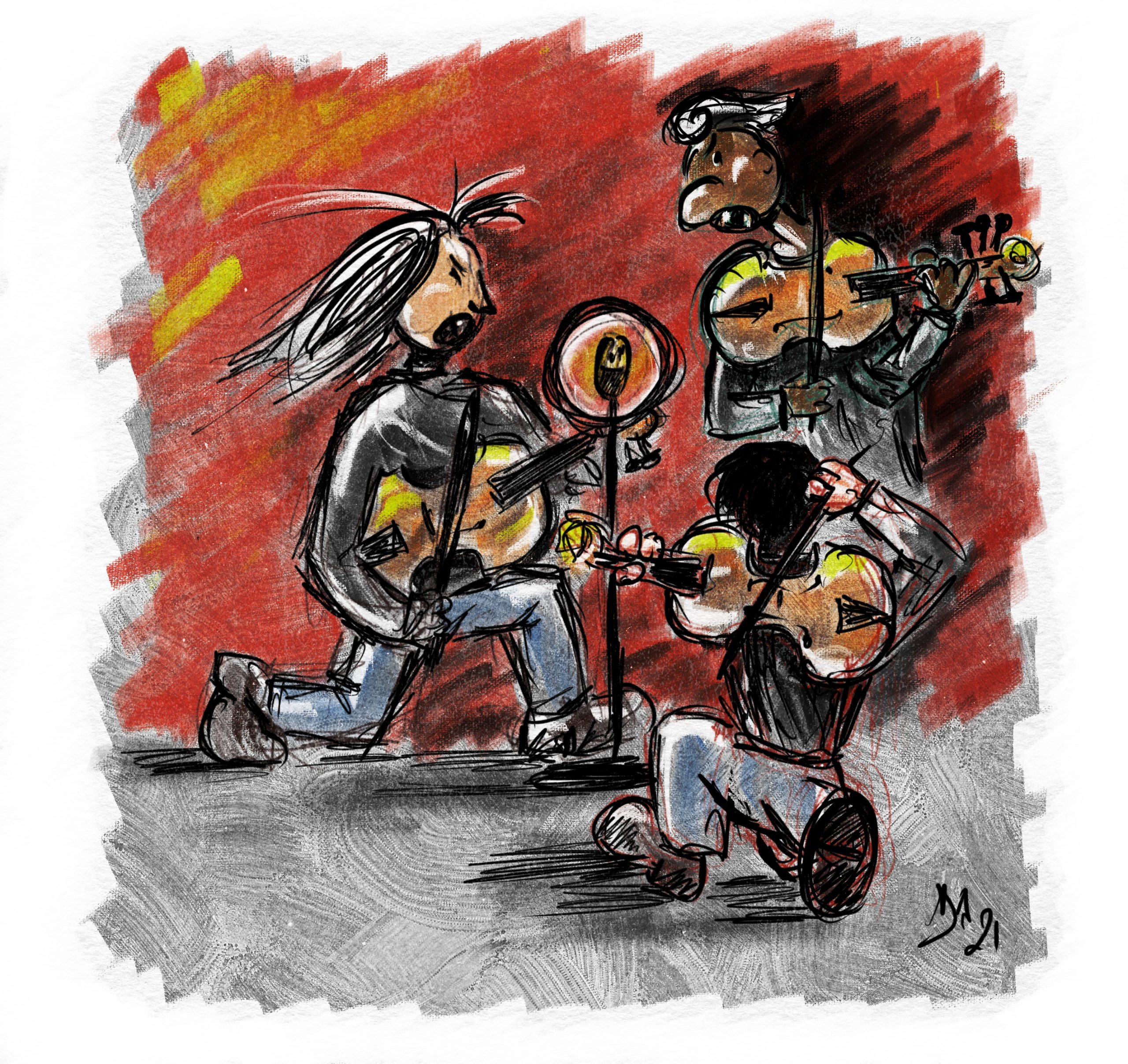 vignetta di Sergej Malov che suona il violoncello da spalla