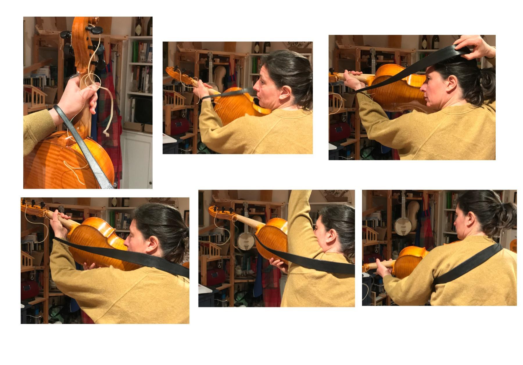 come indossare la tracolla per il violoncello da spalla