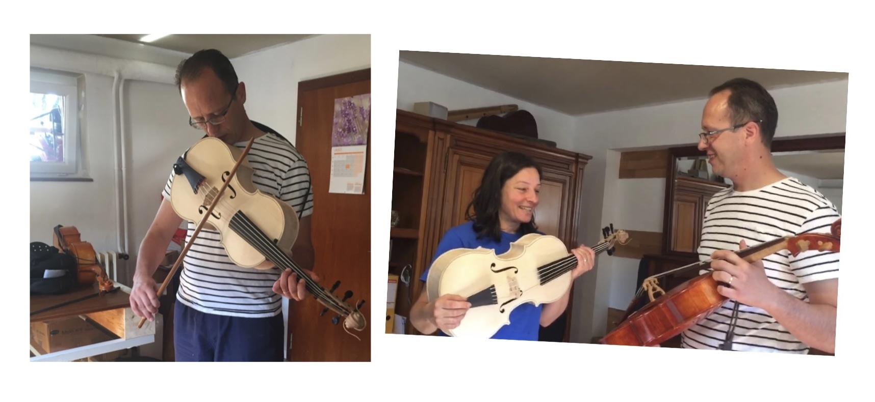 Daniela Gaidano e eliakim boussoir con il violoncello da spalla di Alessandro Visintini