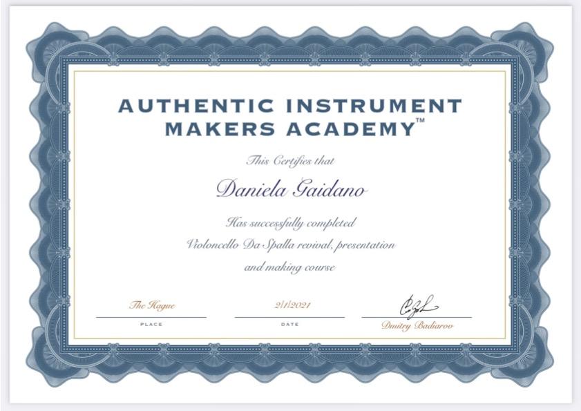 Diploma Badiarov costruzione violoncello da spalla Daniela Gaidano