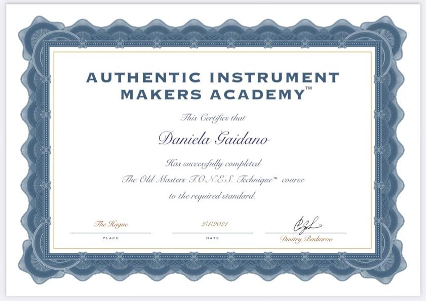 Diploma Badiarov costruzione con design armonico Daniela Gaidano