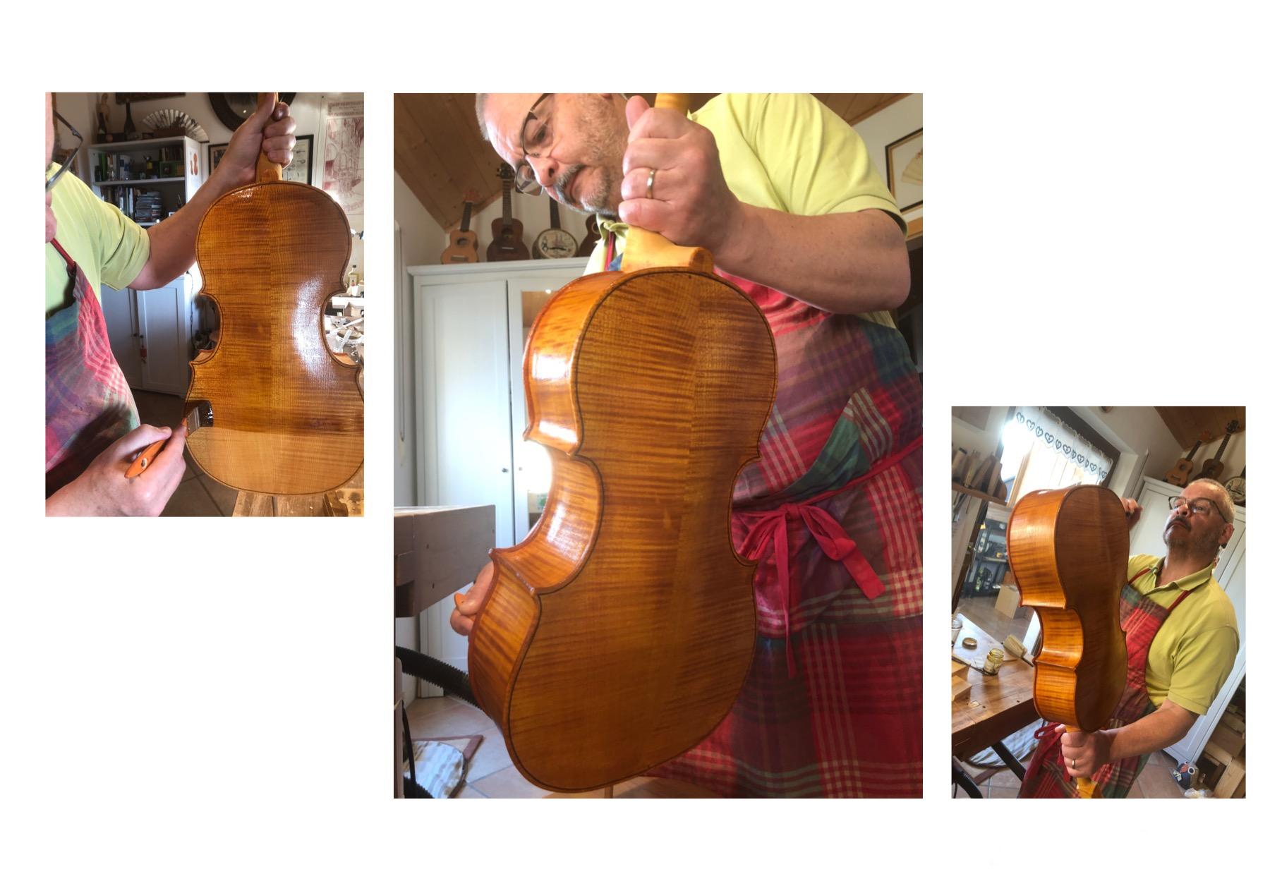 Verniciatura violoncello da spalla visintini gaidano